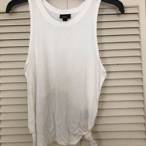 Mossimo white tie knot tank, open back